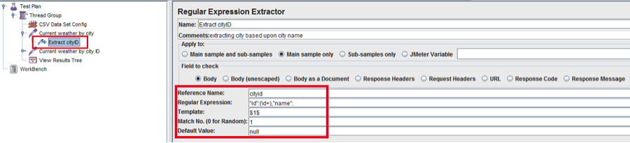 Screenshot of regular expression extractor