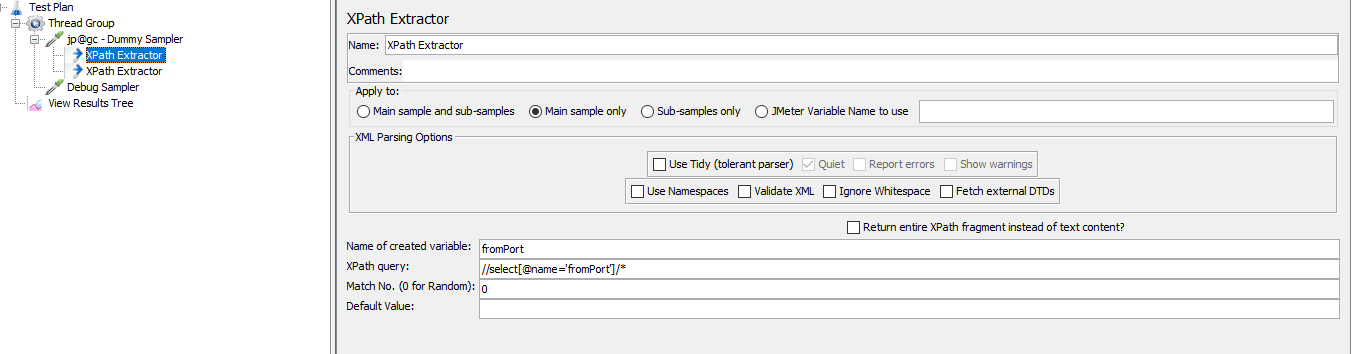screenshot of XPath extractor