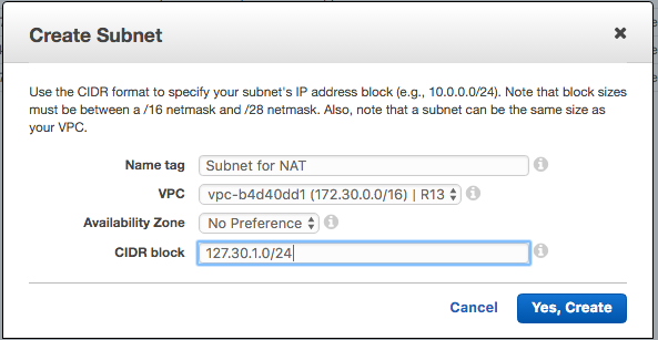 Create Subnet for NAT