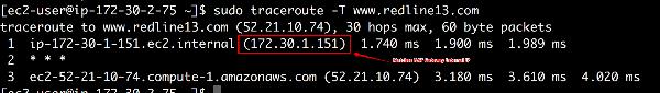 testagent traceroute to redline