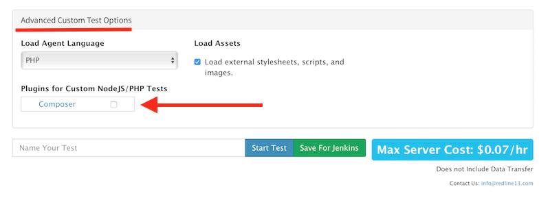 Advanced Custom Test Options RedLine load testing