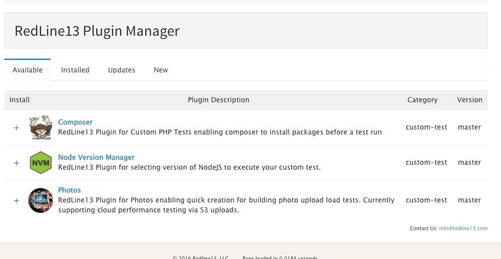 RedLine13 Load Testing Plugin Manager