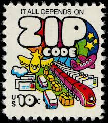 """1975 stamp - """"It all depends on Zip Code"""". Zip Code API does that now."""