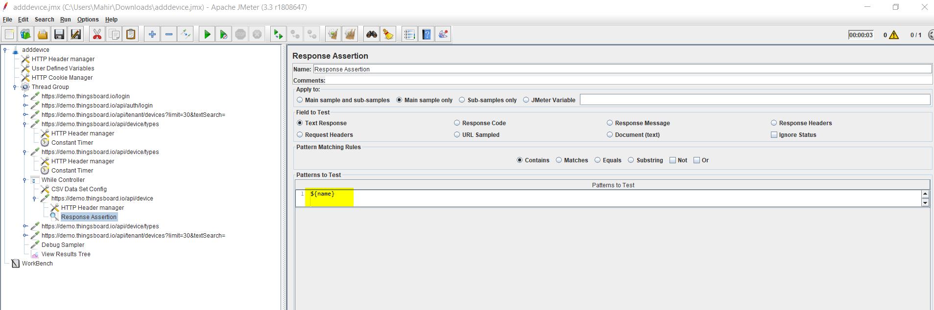 Screenshot of Response Assertion