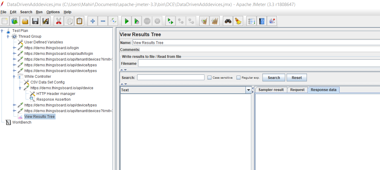 Screenshot of JMeter project file structure