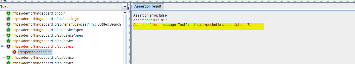 Screenshot - Response Assertion Results