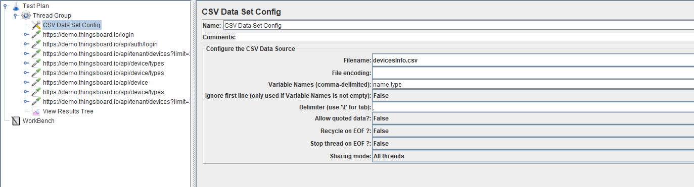 Screenshot of CSV Data Set Config