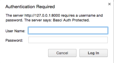 Popup asking for authentication