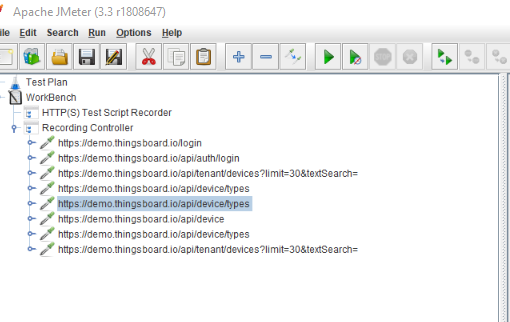 Screenshot of JMeter Test Script Recorder