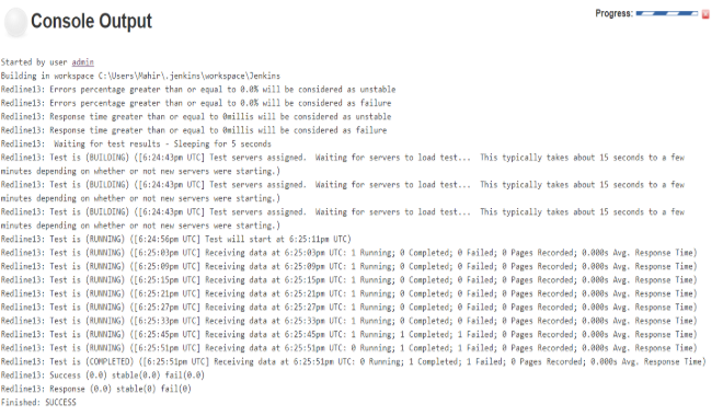 console output - Load Testing in a Continuous Integration Environment.