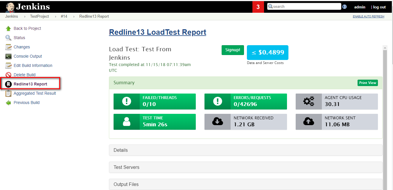 RedLine13 reports and Test Types with Jenkins and RedLine13
