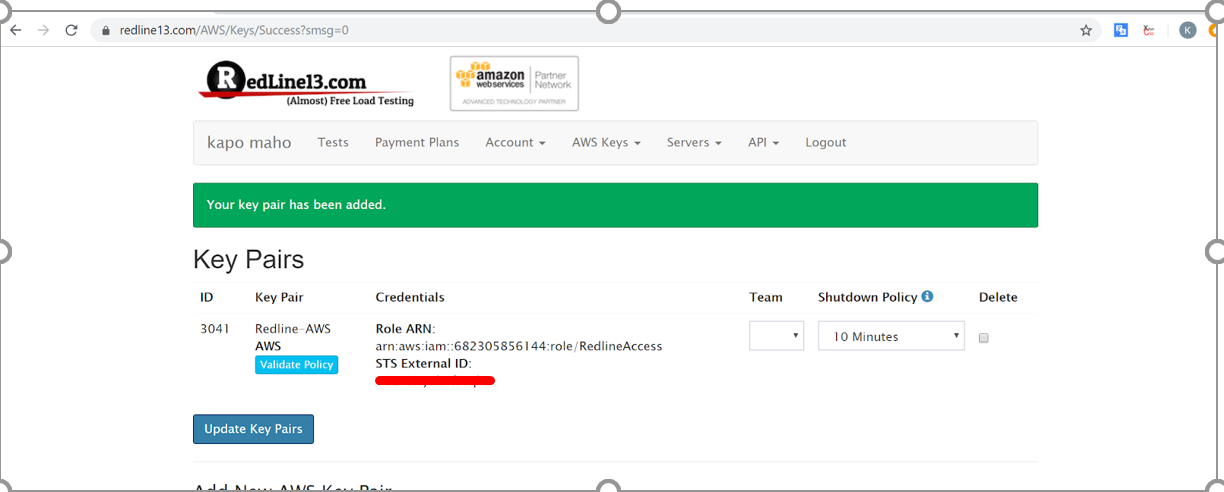 Final step in using AWS for load testing
