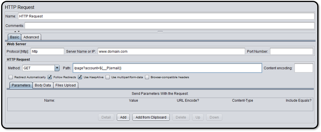 Setting up an HTTP Request sampler within JMeter