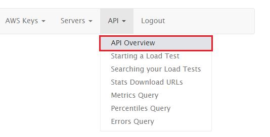 Selecting API Overview from the API main menu.