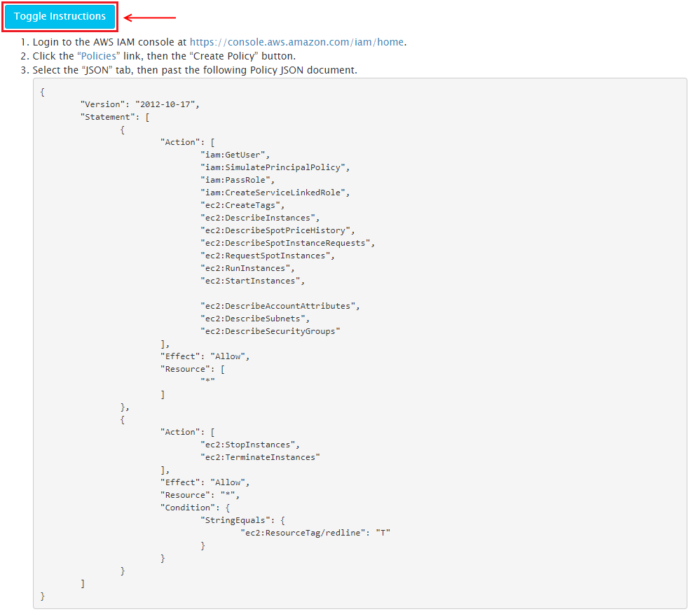 RedLine13 instructions and AWS IAM policy