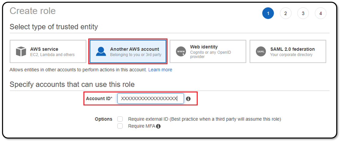 Specifying an AWS account trusted entity and account ID