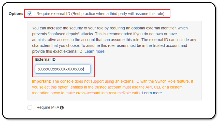 Entering the RedLine13 external ID into the AWS console