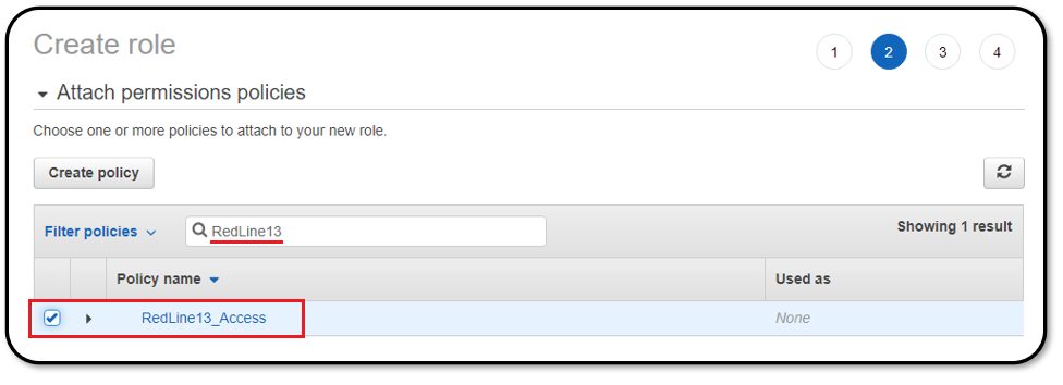 Attaching the RedLine13 policy to the AWS IAM role