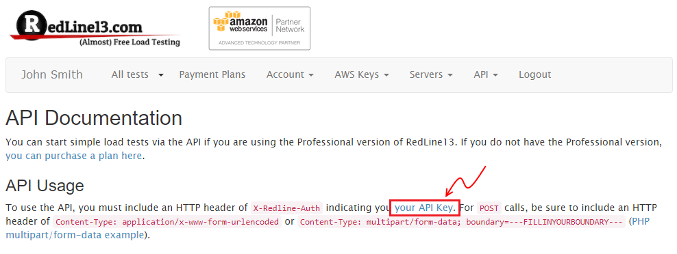 """Following the """"your API key"""" link from the API Documentation page."""