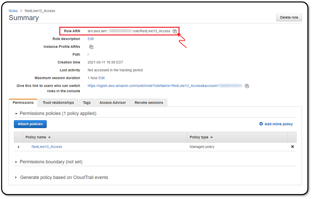 Copying the IAM role ARN from AWS for use in RedLine13