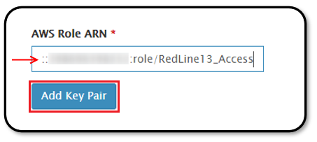Pasting the AWS ARN role into RedLine13