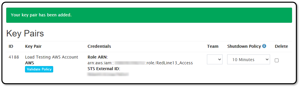 AWS key pair is listed within RedLine13