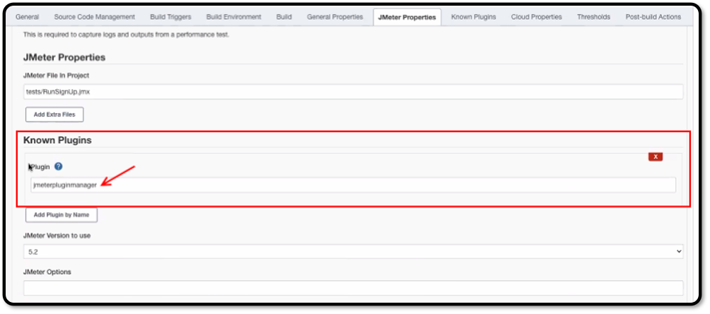 Adding the JMeter Plugin Manager reference under JMeter Properties.