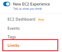 Selecting limits from you AWS EC2 console