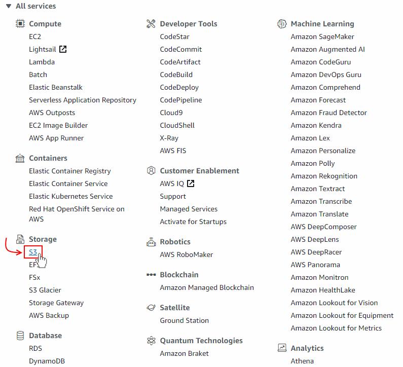 Selecting the Amazon Web Services (AWS) S3 storage service