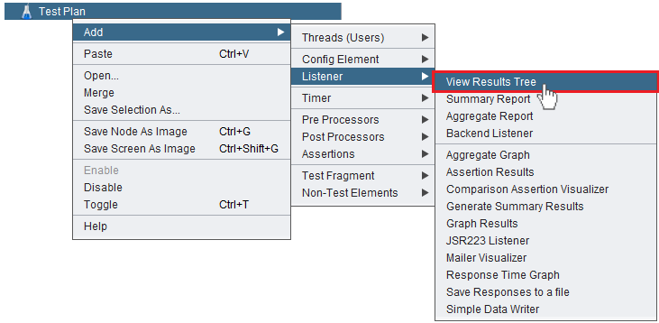 """Adding the """"View Results Tree"""" listener to a JMeter test plan"""