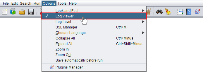 """Accessing the """"Log Viewer"""" from within JMeter"""